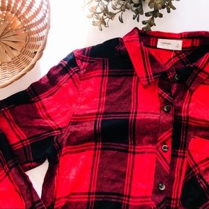 NWT Maurices | Button Up Red Plaid Tunic Blouse